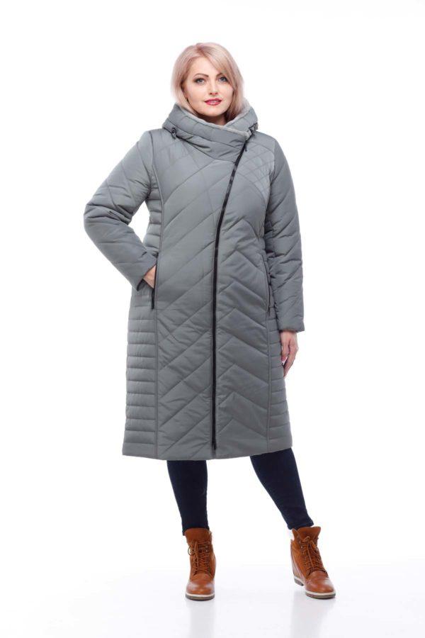 Зимнее пальто Мира кролик фисташки