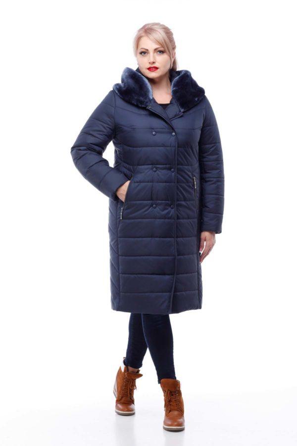 Зимове пальто Кім Зима Еммі мутон темно-синій