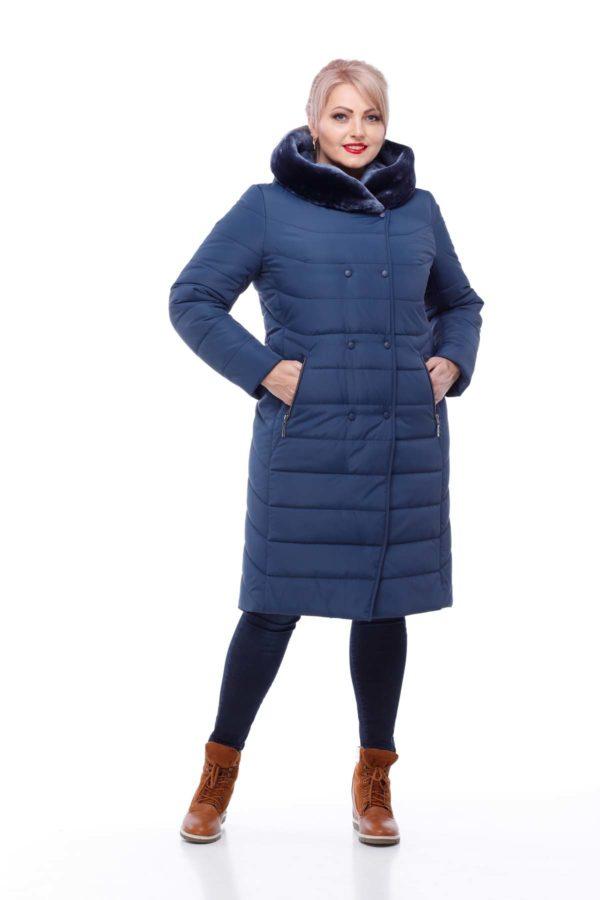 Зимове пальто Кім Зима мутон темно-синій