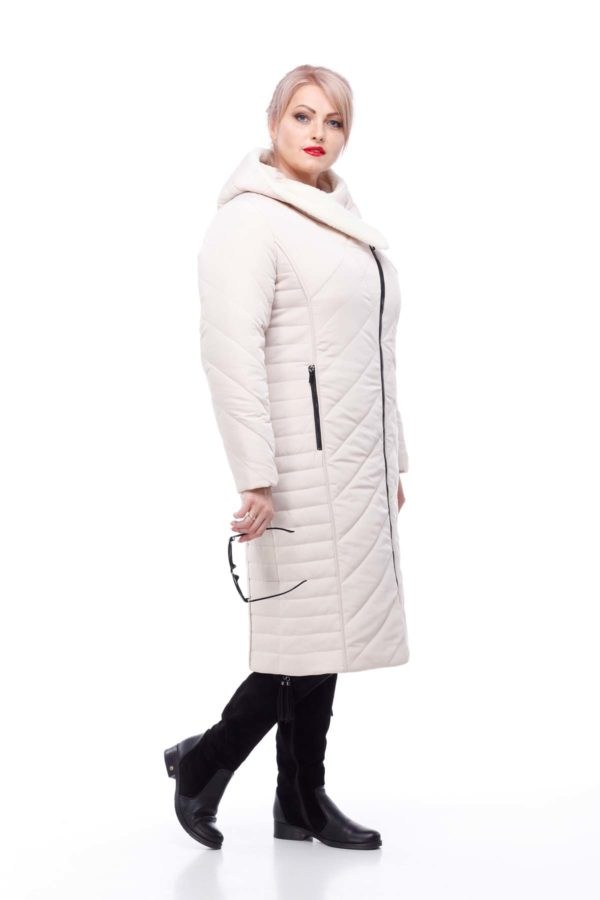 Зимнее пальто Мира овчина зефирный