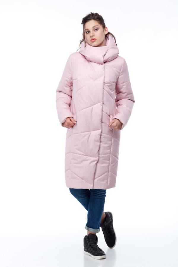 Пальто стеганое Карина персик флок