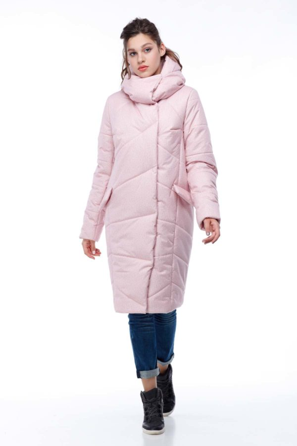 Пальто стьобана Карина персик флок