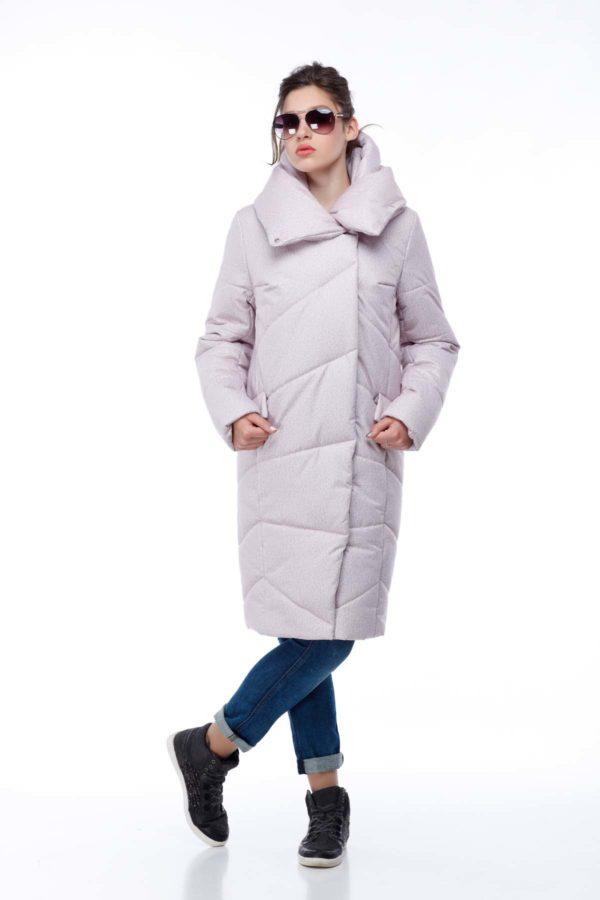 Пальто стеганое Карина розовый флок