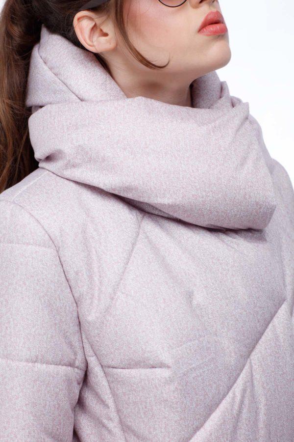Стеганое пальто Карина розовый флок