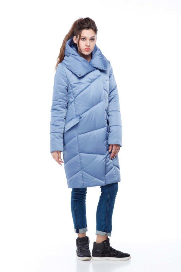 Пальто стеганое Карина голубой лед (атлас)