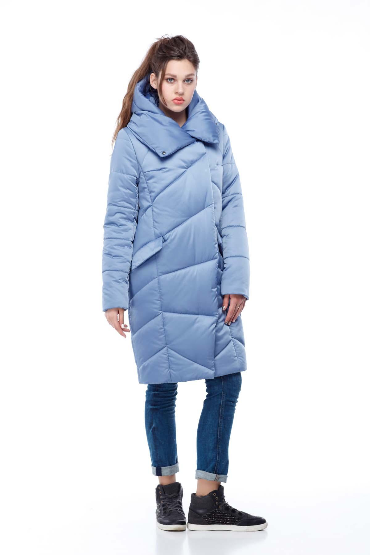 Пальто стьобана Карина блакитний лід (атлас)