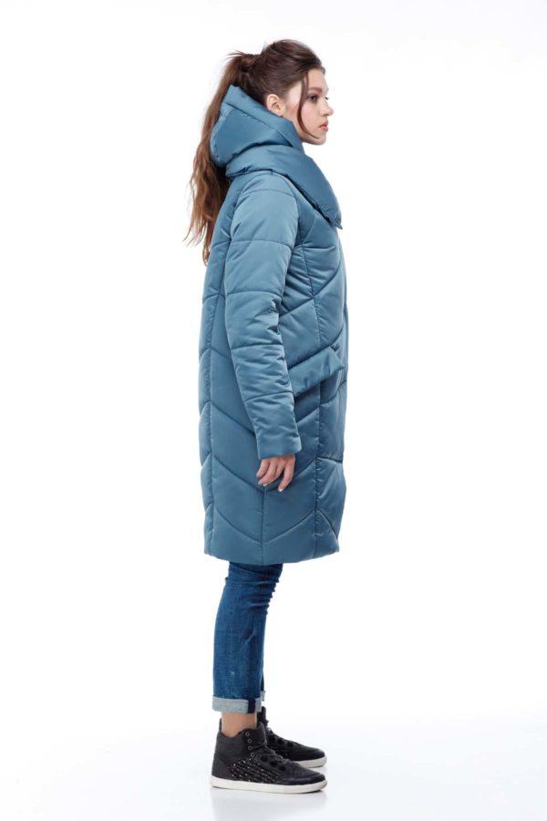 Пальто стеганое Карина зеленый (атлас)