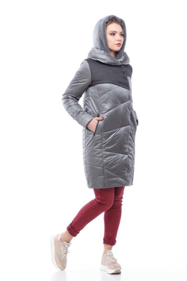 Пальто стеганое Карина серый нейлон с кокеткой кролик