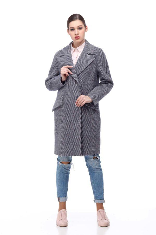 Пальто Лора сіро-біла діагональ