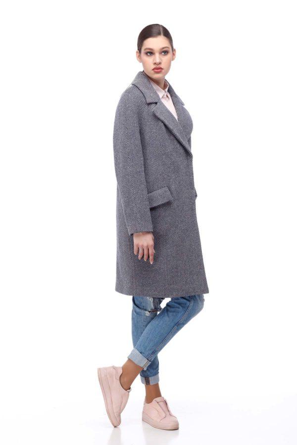 Пальто Лора серо-белая диагональ