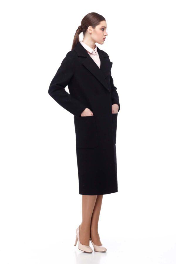 Пальто Кимберли, мелтон черный