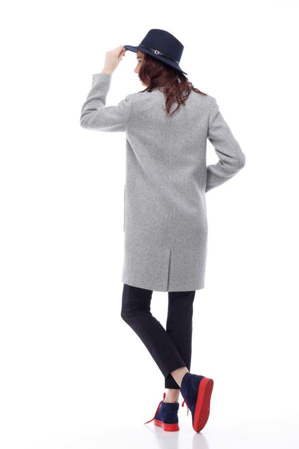 Пальто Виктория, диагональ, серо-белый люрекс