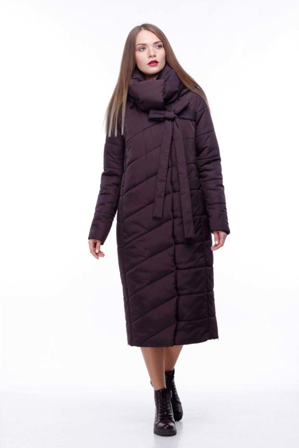 Стеганное пальто удлиненное ammy Вероника шоколад