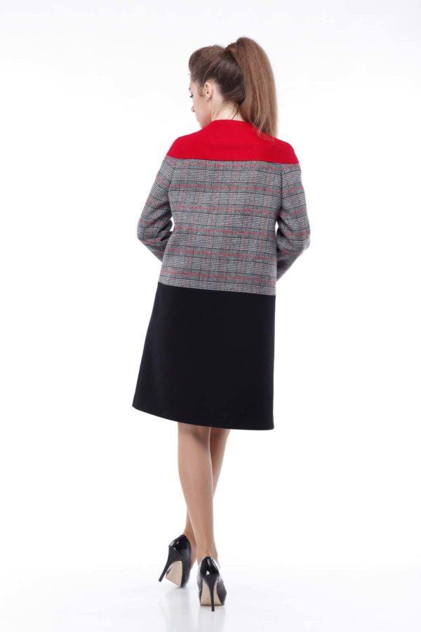 Купити пальто Міранда осінь - весна Melton Міранда червона клітина чорна