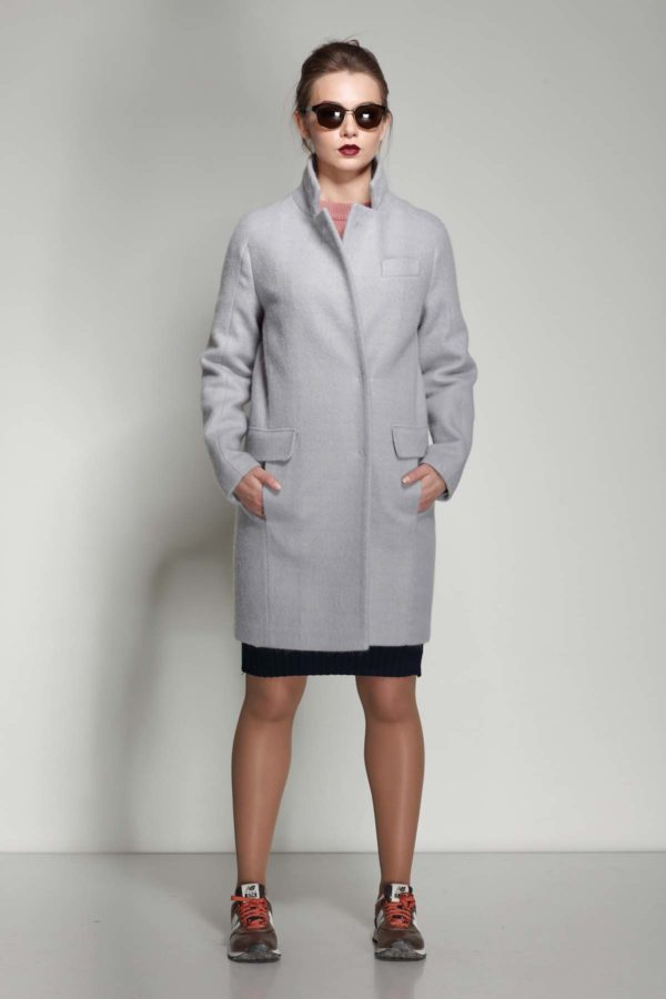 Пальто Джоли, ангора, серый перламутр