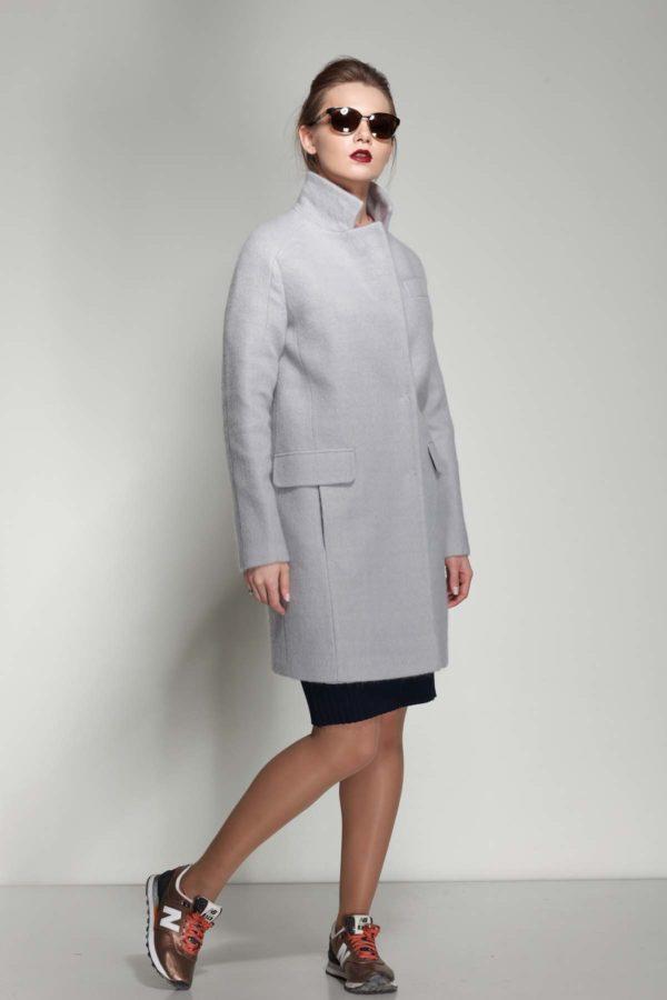 Пальто Джолі, ангора, сірий перламутр