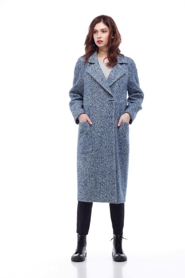 Купить пальто Лучиана бело-сине-голубая твид Твид Италия