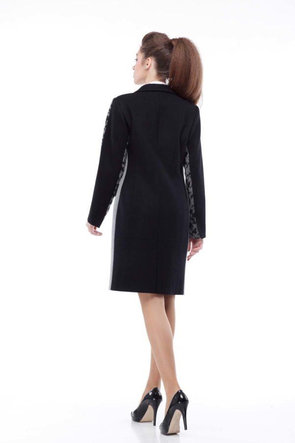 Пальто Ингрид, шерсть Турция черный+диагональ флок