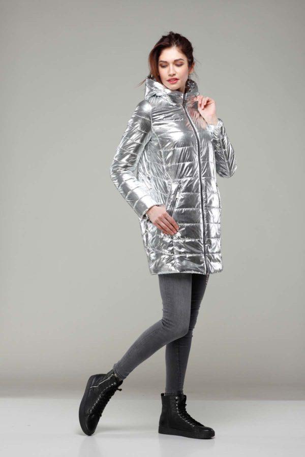 Весенняя Куртка Веста серебро фольга плащевка