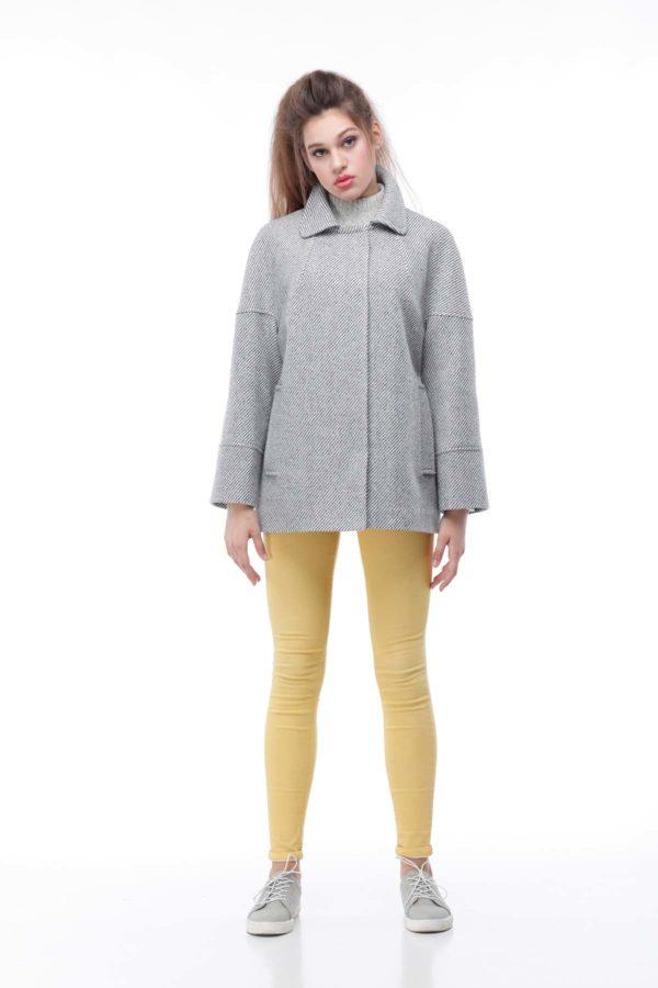 Купить пальто ненси Диагональ серо-белый люрекс