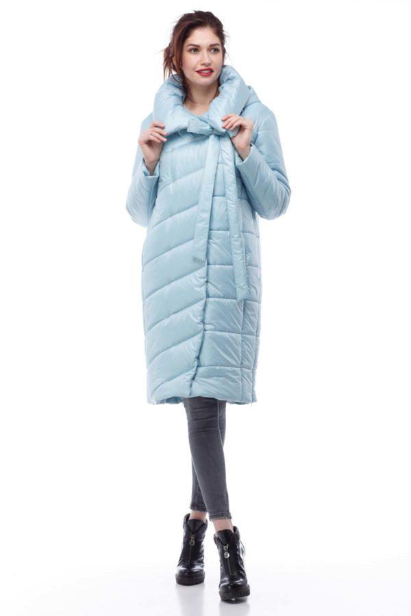 Зимнее пальто стеганое Вероника, меланж, голубой