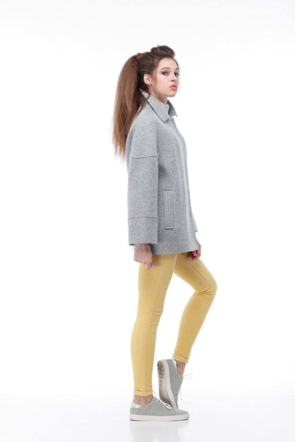 Купити пальто ненси Діагональ сіро-білий люрекс