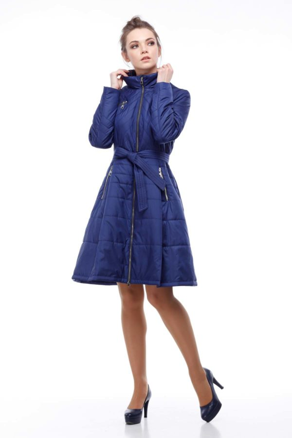 Пальто стеганое Аврора, василек