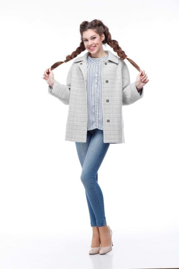 Купить пальто ненси Рогожка Ненси серо-белая