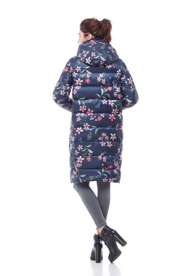 Зимнее пальто стеганое Вероника, принт цветок