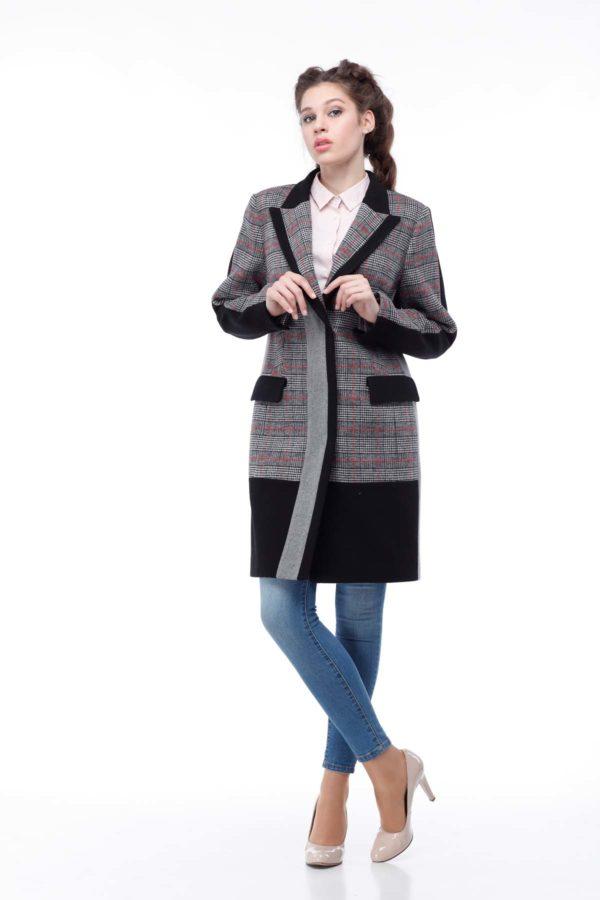 Пальто Ингрид, шерсть Турция черный+красно-серая клетка