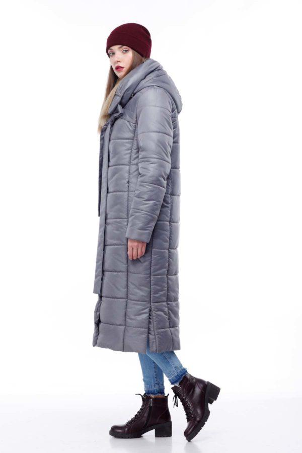 Стеганное пальто удлиненное Вероника серый меланж