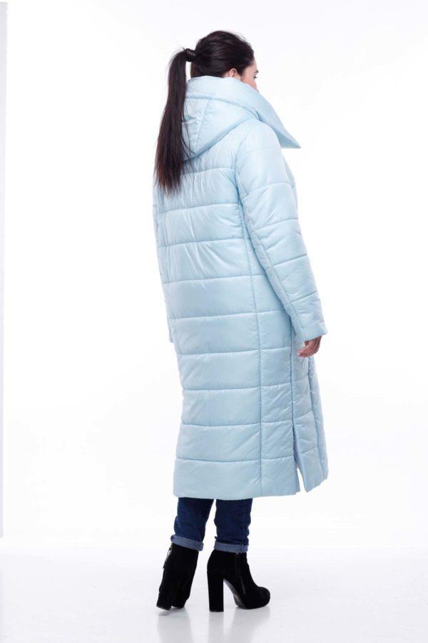 Стеганное пальто удлиненное Вероника голубой меланж