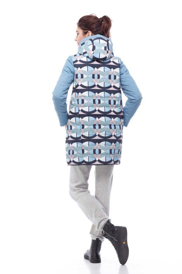 Весенняя Куртка Веста голубой принт абстракция ammy