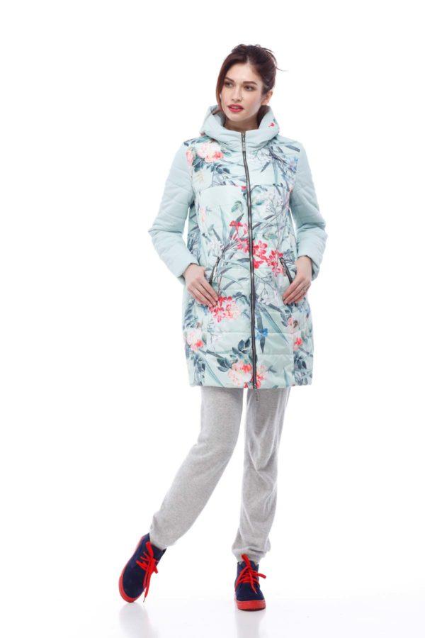 Весенняя Куртка Веста мята принт цветы ful dal