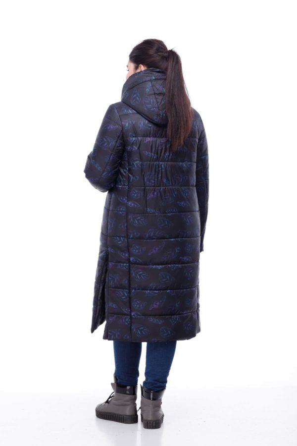 Зимнее пальто стеганое Вероника, принт листик