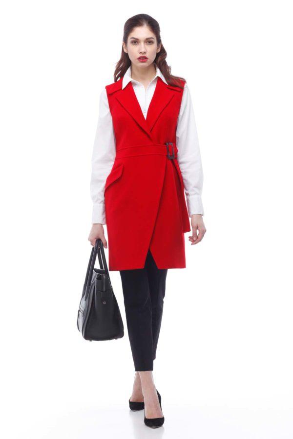 Пальто, melton, красный