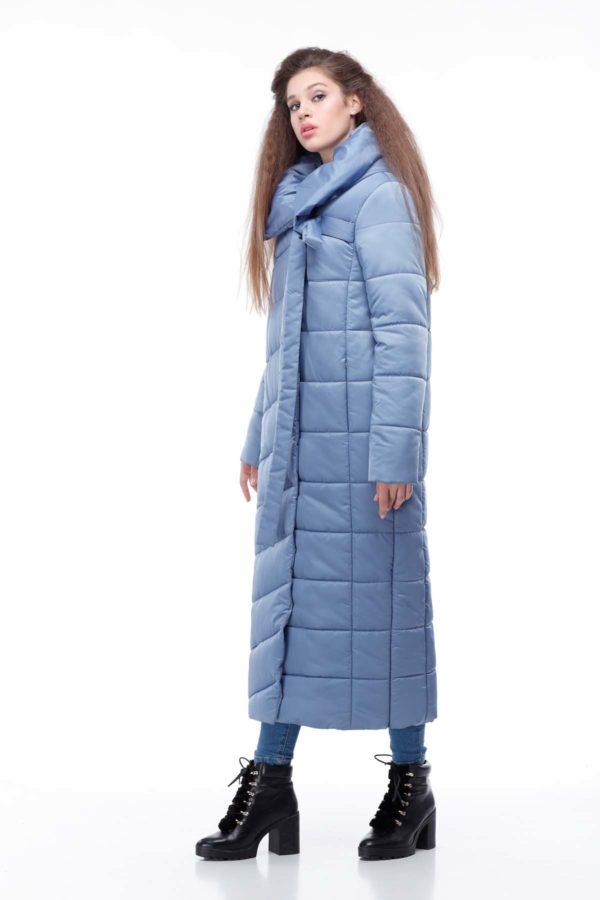 Стеганное пальто удлиненное атлас Вероника голубой лед