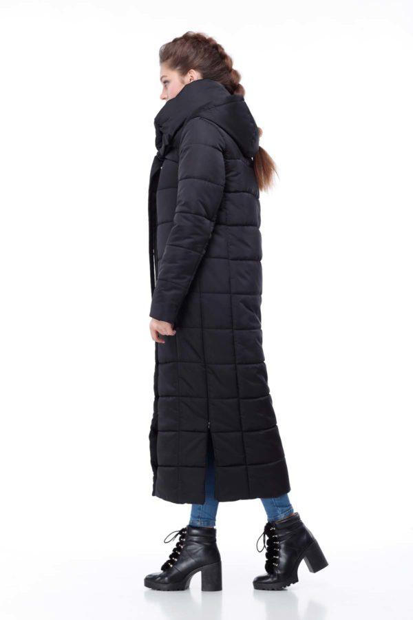 Стеганное пальто удлиненное атлас Вероника черный атлас