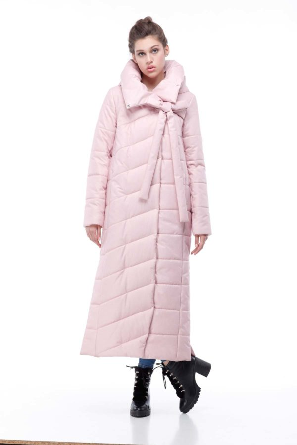 Стеганное пальто удлиненное Вероника розовый флок