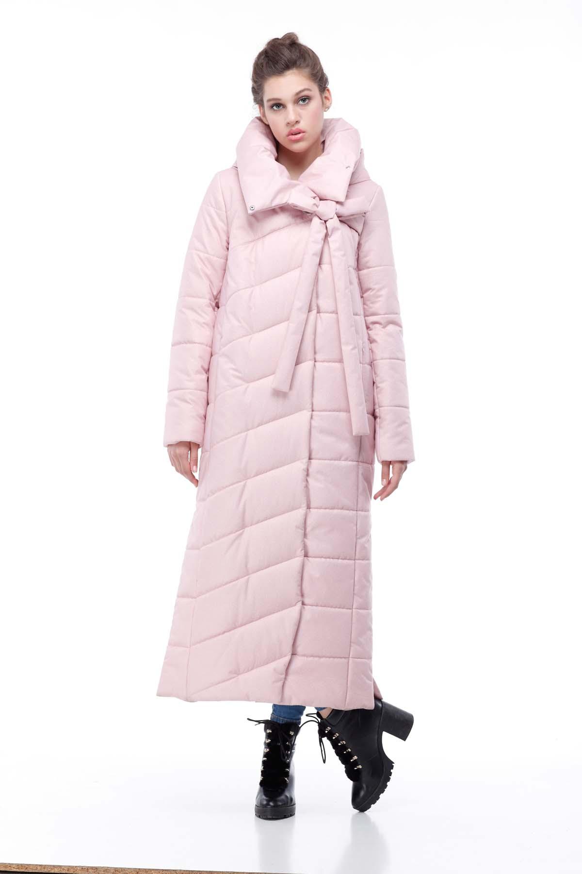 Стеганное пальто подовжене Вероніка рожевий флок