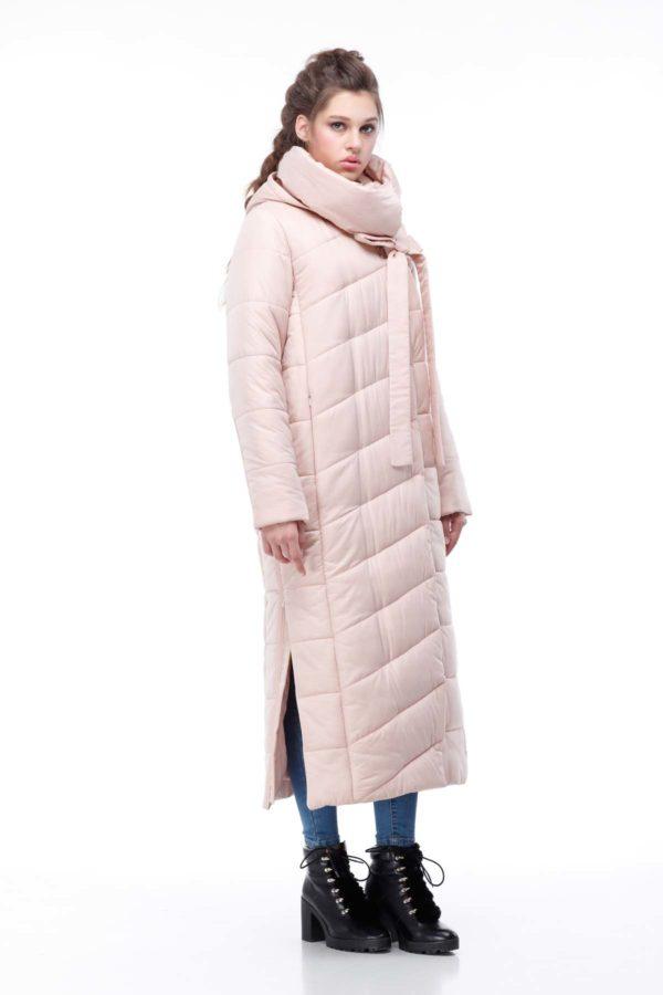 Стеганное пальто удлиненное Вероника персик флок