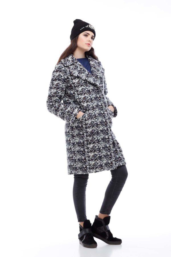 Пальто Весна Лора серо-коричневый букле