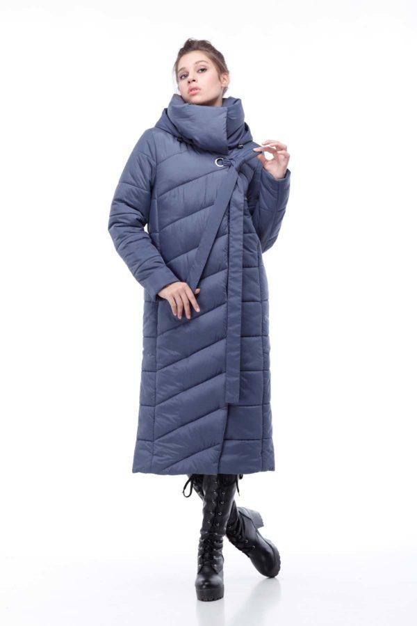 Стеганное пальто удлиненное Вероника джинс меланж
