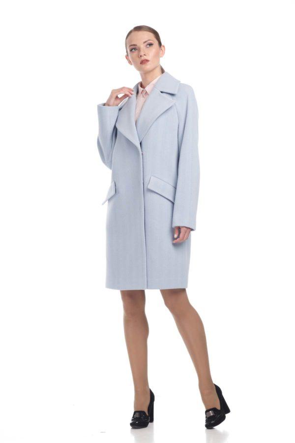 Пальто Шерсть Италия Лора голубая елочка