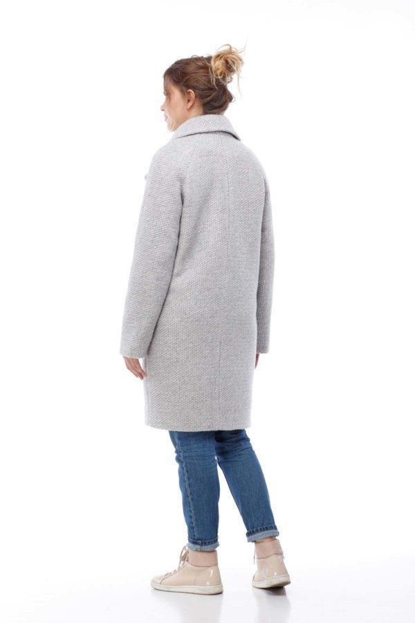 Пальто Лора серо-розовое букле соты