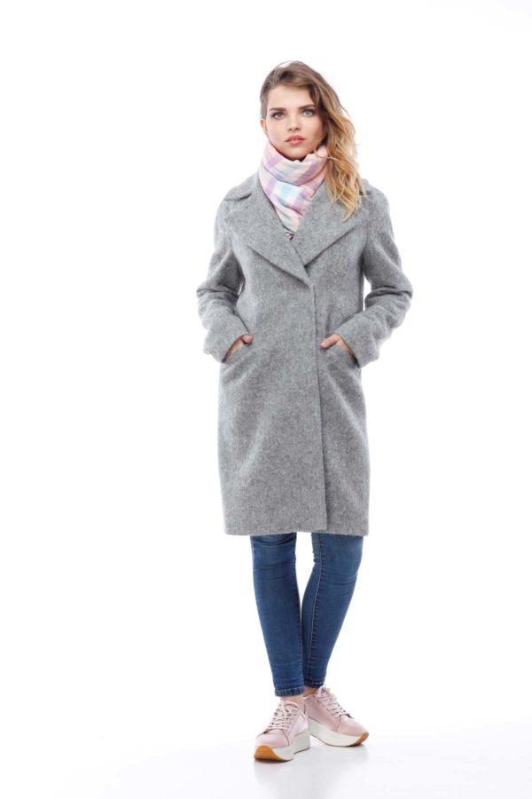 Пальто Шерсть ворсовой Италия Лора серый длин.ворс
