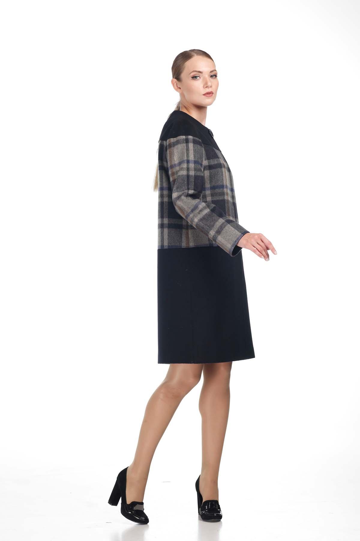 Купить пальто Миранда осень - весна Шерсть Италия темно-синий серо-синяя клетка