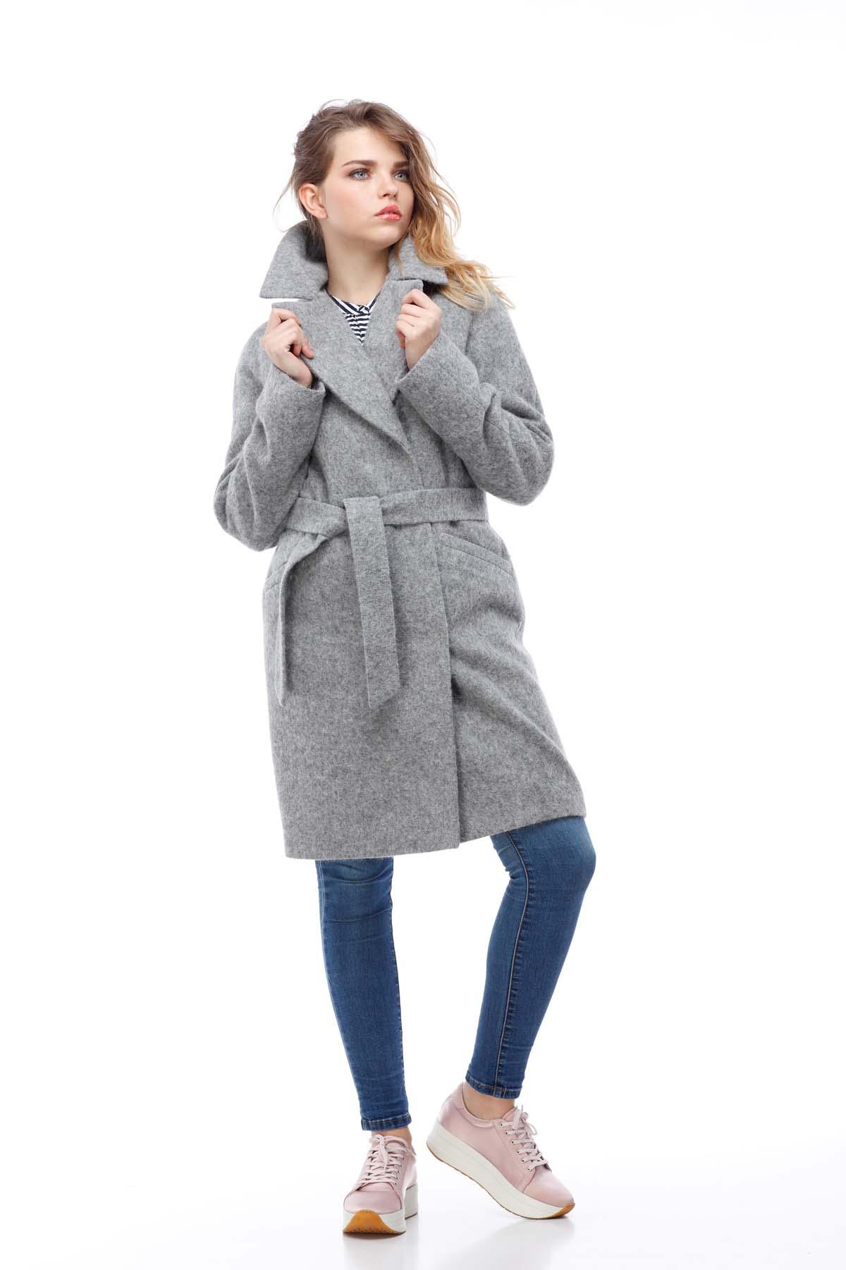 Пальто Лора, вовна ворсова Італія сірий