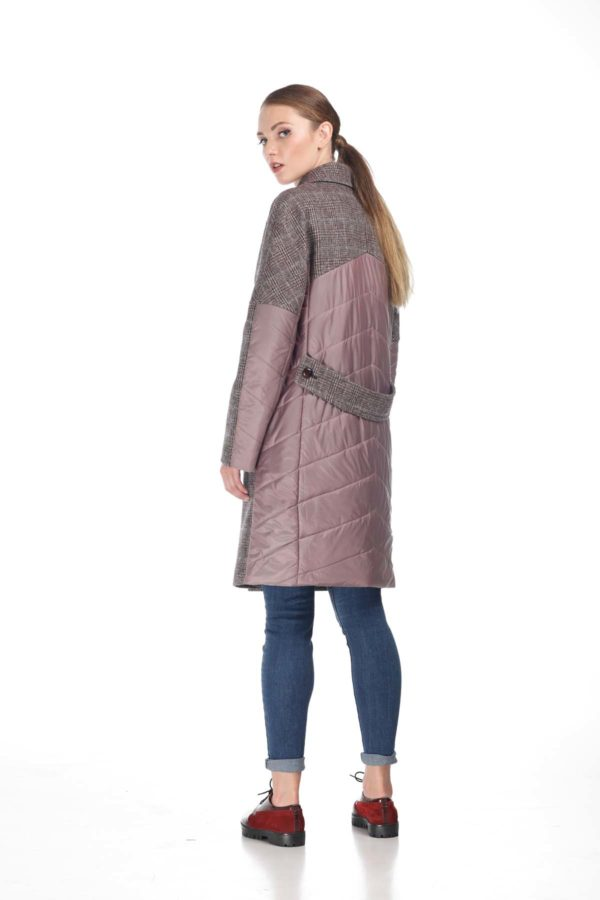 Купить Пальто стеганное Монреаль Клетка Италия аметист