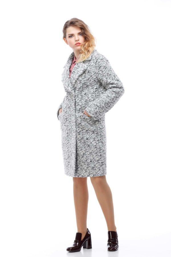 Пальто Лора чорно-біле букле
